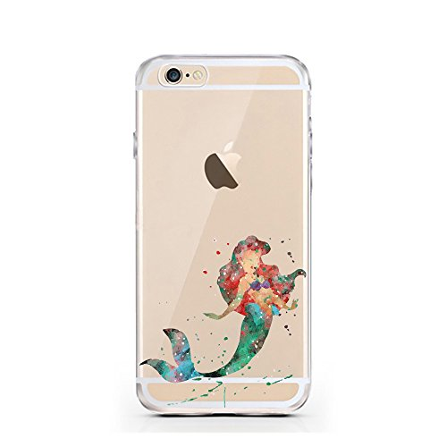 iPhone 5 5S SE Hülle von licaso® für das Apple iPhone 5S aus TPU Silikon Meerjungfrau Aquarell Mermaid Wasser Ozean Fisch Comic Muster ultra-dünn schützt Dein iPhone SE & ist stylisch Schutzhülle Bump Meerjungfrau Aquarell