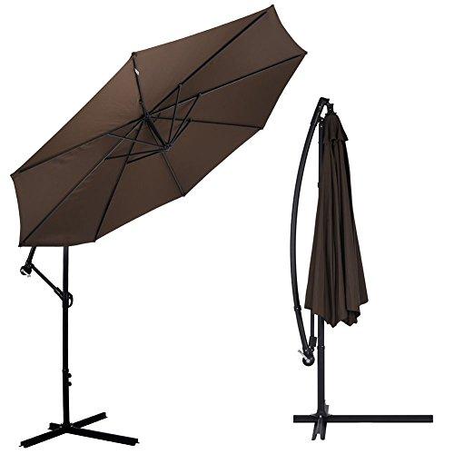Bakaji ombrellone da giardino decentrato 3x3 mt palo alluminio chiusura a manovella base a croce sistema air vent arredamento esterno gazebo piscina giardino terrazzo ambienti esterni marrone