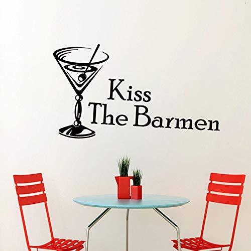 tzxdbh Küssen die Barmen Cocktail Glas Wandaufkleber Ausgangsdekor Küche Wandtattoos PVC Abnehmbare DIY Raumdekoration 43 * 25 cm