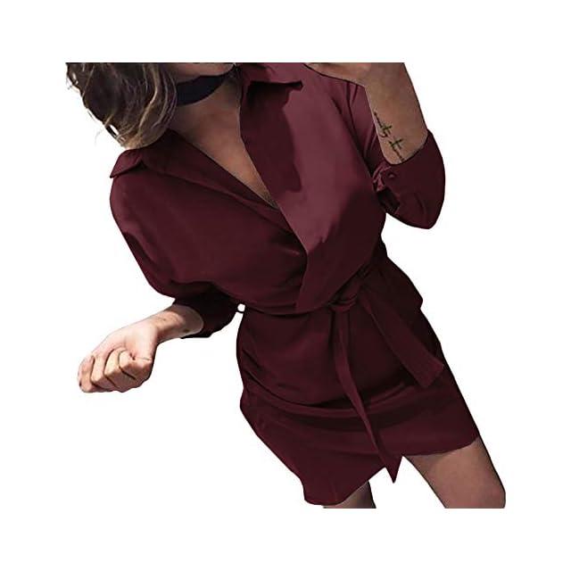 millenniums Mini Robe Courte Couleur Unie Casual Manche Longue Col V  Automne Hiver Party Bar Pub ... a48f5a668f92