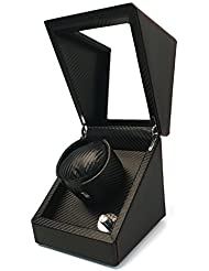 Pateker® Luxus Carbon Faser Uhrenbeweger für eine Uhr, Schaukarton Schachtel aus Schwarzem Leder [100% Handarbeit]