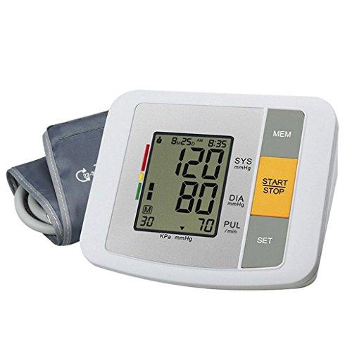 LIU Monitor elettronico della pressione sanguigna - Voce intelligente Rilevatore di battito cardiaco e rivelatore di ipertensione del polsino regolabile LCD portatile