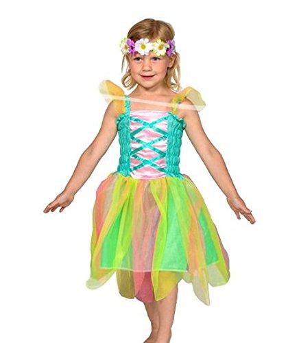 Folat 21851 -Frühlings-Fee - Kleid mit Blumenkranz, Größe S, mehrfarbig