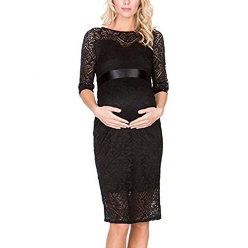 2eed794ae80c VICGREY Vestito da maternità Donna Abito di maternità Abito in Pizzo Abito  di Gravidanza Scollo a