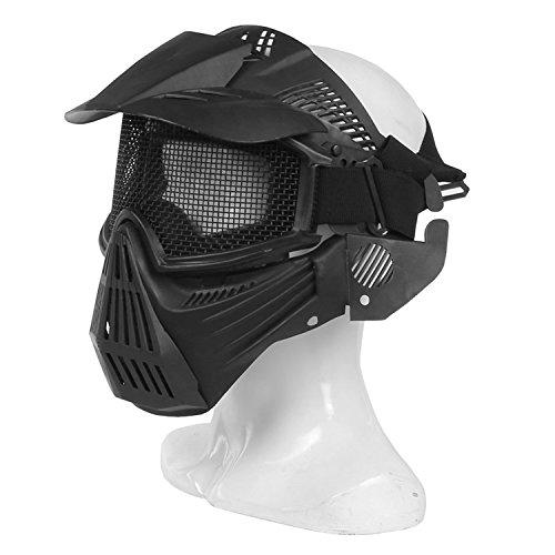 Máscara táctica de haoYK, de malla, protección facial integral, para airsoft, paintball, uso militar o como disfraz de Halloween, negro