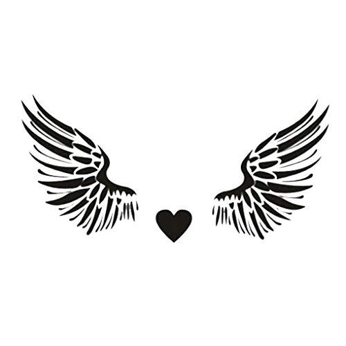 Busirde Herz-Flügel-Wand-Kunst-Aufkleber-entfernbare PVC-Wand-Tattoo-Abziehbilder Wohnzimmer Tapete Black 57 * 116cm - 116 Wand