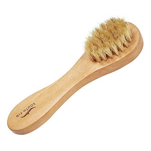Anself Spazzola per la pulizia del viso,Spazzola per il viso in legno Manico naturale Setole Spazzola per il viso Spazzole per massaggio Esfoliante e pulizia profonda
