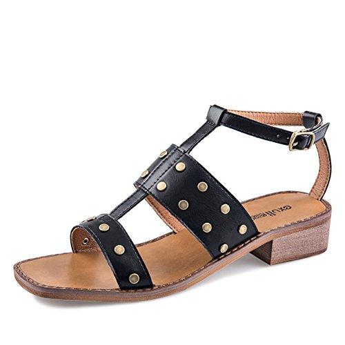 Sandales De Rivet Dété/Boucle Carrée Avec Des Chaussures/Sandales à Talon Chunky B