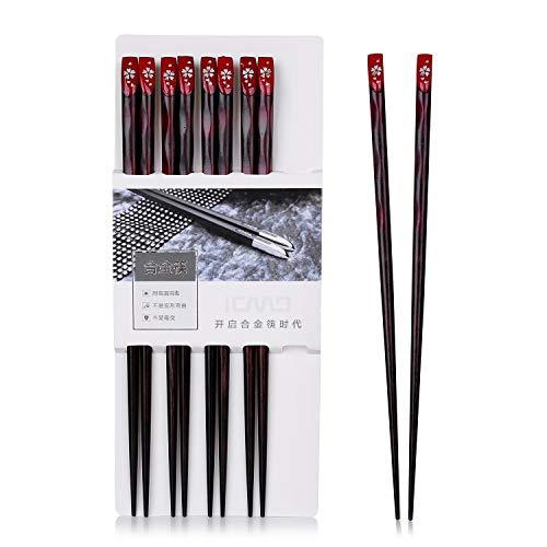 Leaptech 5 Pares de Palillos, Palillos de Sushi de Madera sanos y ecológicos Palillos Reutilizables Conjunto de Madera de Hierro japonés Negro, 23cm (Safflower)