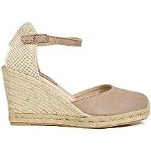 d24f06fbcbb Zapatos miMaO. Zapatos Piel Mujer Hechos EN ESPAÑA. Cuñas Esparto Mujer.  Sandalias Plataforma