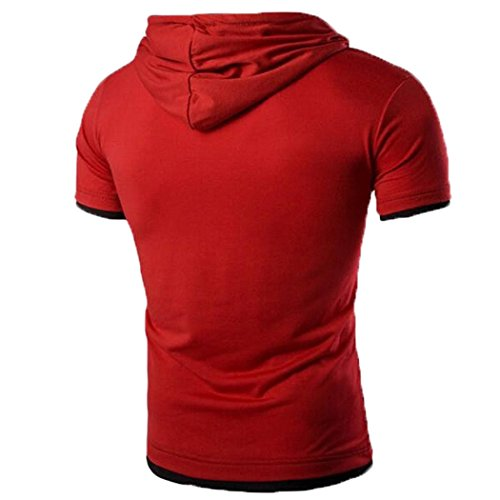 OverDose Herren Sommer Hooded T-Shirt mit Kapuze Kragen Tops Riemen Entwurfs Shirt Kurzschluss Hülsen dünne Basic Oberteil Fitness Bluse D
