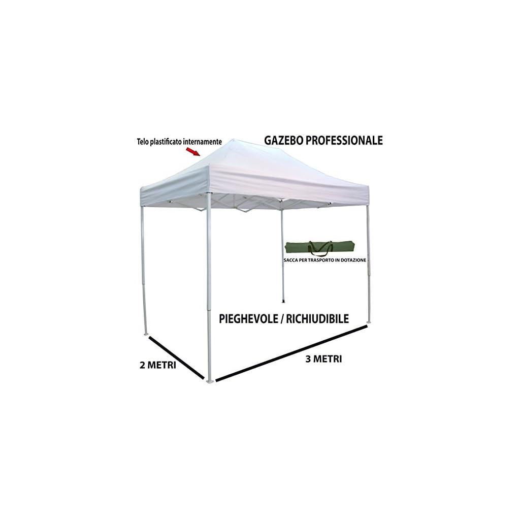 Telo Bianco per Mercato Fiera manifestazioni sagra Campeggio Giardino Telo plastificato Impermeabile Anti Pioggia Savino Fiorenzo Gazebo Pieghevole richiudibile telescopico 3x2 m