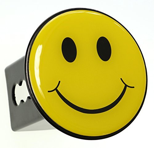Yellow Smiley Happy Face Trailer Metal Hitch Cover Fits 2 Receivers by LFPartS - Receiver Cover Hitch