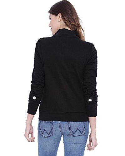 Campus Sutra Women Black High Neck Jacket(AW16_JKHNK_W_PLN_BL_M)