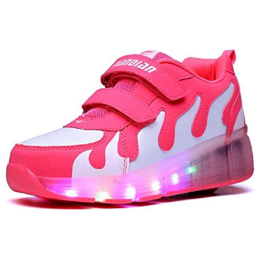 Aizeroth-uk unisex bambino led scarpe con rotelle automatiche skate formatori sportive ginnastica lampeggiante sneaker per bambini ragazze e ragazzi (37 eu, rosa-3)