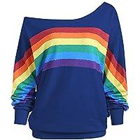Damen Sweatshirt,Juliyues Frauen Oversize Regenbogen Print Sweatshirts Off Schulter Langarm Shirts Pullover Casual Tops Bluse