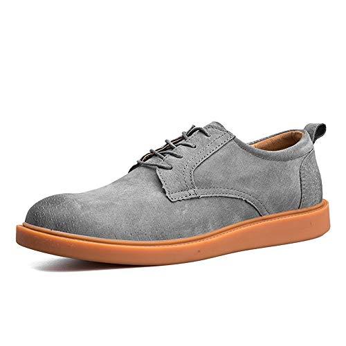 HILOTU Herrenmode Oxfords Casual Einfache Retro Abwischen Farbe Runde Kappe Flache Schuhe Fahren Mokassin Sneaker (Color : Grau, Größe : 44 ()