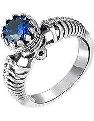 YIJIAN Anillo Sulcan Anillo Corona Anillo de Piedras Preciosas Tendencia/azul / 8ºÅ