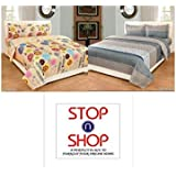 Stop N Shopp Super Home Grace Cotton Combo Set Of 2 King Size Double Bedsheet With 4 Pillow Covers