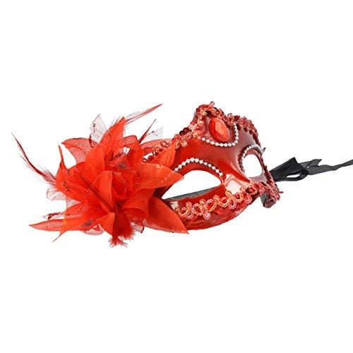 Venezianische Maske / Halbmaske mit Federn und Glamour Glitzer, verschiedene Modelle (4-Brillant-Rot)