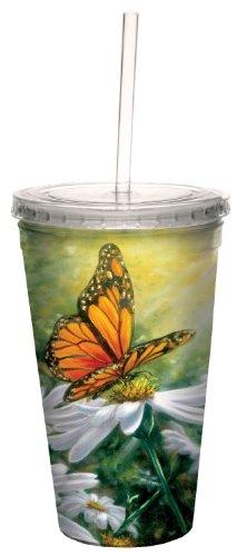 Tree-Free Greetings Strahlen of Light Schmetterling Floral doppelwandige Cool Travel Cup Mit Stroh, 473ml-Geschenk für Garten und Blumen-80023 Floral Becher