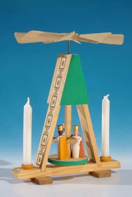 Wärmespiel Miniatur-Pyramide mit Könige, grün für den Heizkörper oder Puppenkerzen(7mm x 40mm) Höhe ca 13,5 cm NEU Tischpyramide Minipyramide Seiffen Erzgebirge
