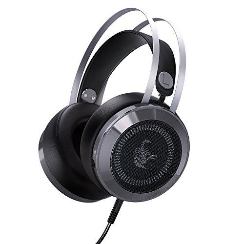 AUKEY Gaming Headset Over-Ear 3,5 mm Stereo Virtual Surround Sound Gaming LED Leuchte Kopfhörer mit eingebautem Mikrofon und USB Port für PC / Xbox / One / PS4 / Mobile - Metall Silber & Schwarz