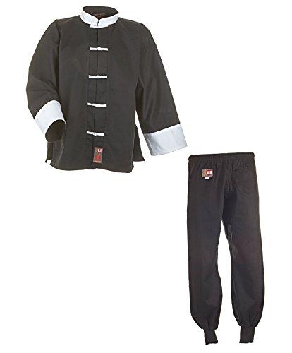 Kung Fu Anzug, Tai Chi, Wu Shu 9502 schwarz/weiß Baumwolle, Gr. 180