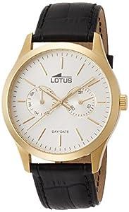 Lotus 15957/1 - Reloj de cuarzo para hombre, con correa de cuero, color negro