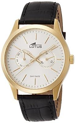 Lotus 15957/1 - Reloj de cuarzo para hombre, con correa de cuero, color negro de Lotus