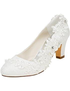 Emily Bridal scarpe da sposa Donna raso di seta come Tacco spesso Stiletto con Pizzo Fiore Cristallo Perla