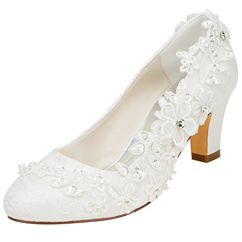 Emily Bridal Wedding Shoes Women s Silk Like Satin Chunky Heel Pumps with  Stitching Lace Flower Crystal f0ddb88c805d