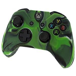 Assecure Pro Silikon-Schutz-Gehäuse für Microsoft Xbox One Controller (gummiert, weich, schwarzes Silikon, stoßsicher, mit geriffeltem Handgriff) Camouflage / Grün