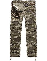 DaiHan Hombre Retro Combate Pantalon Cargo Pants Multi-Bolsillo Pantalones  Casuales Work Trousers 67c4bfebc954