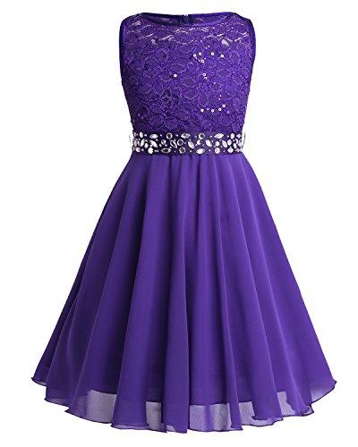 Tiaobug Festlich Mädchen Kleid für Kinder Prinzessin Spitzen Kleider Hochzeit Blumenmädchenkleid 92 104 116 128 140 152 164 Violett 152