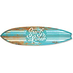Vertikale Décoration Murale Planche de Surf Hybrid Vintage Effet Bois Bleu Ciel 145 x 40 cm
