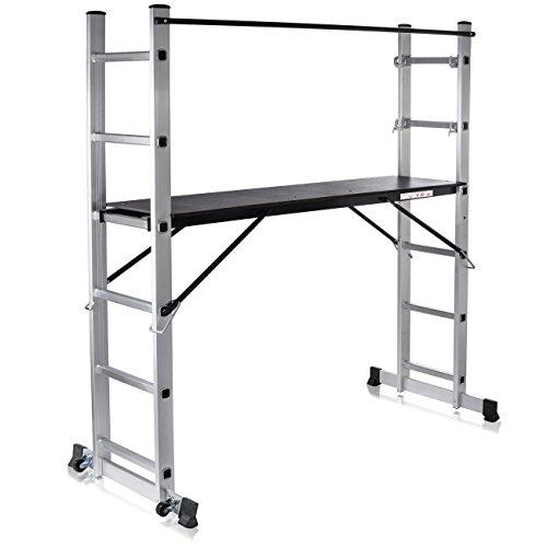 MAXCRAFT Gerüst Baugerüst Aluminium Leiter Arbeitsgerüst Stehleiter Multifunktionsgerüst Arbeitsbühne mit Geländer und Rollen