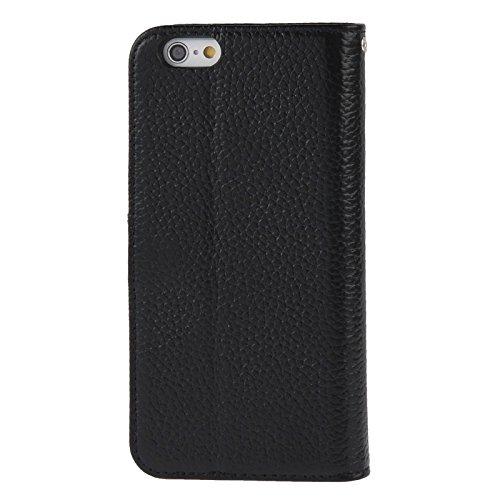 WKKIT Case du vrai cuir cas litchi texture magnétique créneaux et portefeuille de cartes titulaire et l'iphone 6 &6s ( Color : Red ) Black