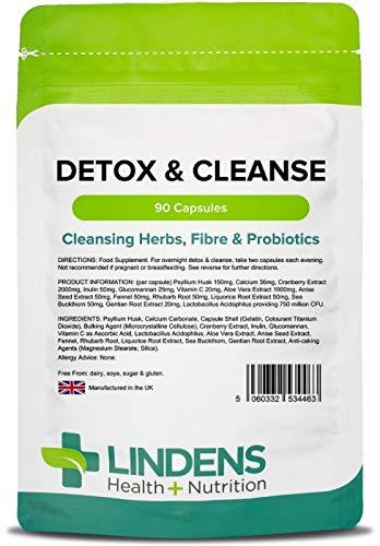 Lindens Cápsulas detox y limpiadoras | 90 Paquete | Fortalecidas con fibra dietética, bacterias amables probióticas y vitamina C, que apoyan un metabolismo sano