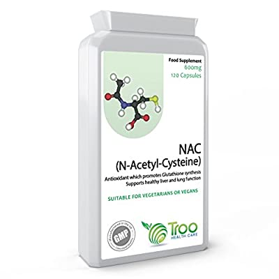 NAC N-Acetyl-Cysteine 600mg 120 Capsules - Key Antioxidant to Support Healthy Liver and Lung Function - UK Made GMP Guaranteed Quality