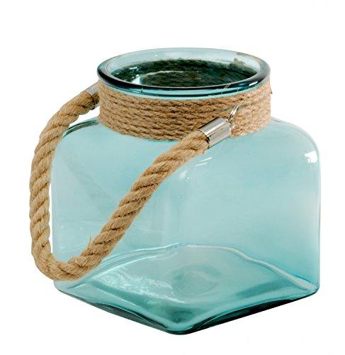 Windlicht Kerzenständer Kerzenhalter Teelichthalter Garten-Deko aus Glas. Laterne groß für Garten, Terrasse, Balkon im Innenbereich und Außenbereich outdoor einsetzbar Vase Blumenvase (Blau)