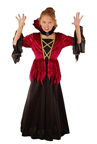 Königliche Vampirin - Vampir Kostüm für Mädchen Halloween rot-schwarz, Vampir Kostüm Kinder (134/140)