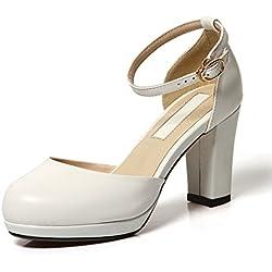 Trend Asakuchi Schuhe/Frauen Highheels/Runde Kopf Schnalle klobige Heels Schuhe/ Mode-Plattform Schuhe Frauen-C Fußlänge=24.3CM(9.6Inch)