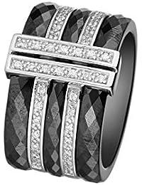 Mes-bijoux.fr - Bague Femme en Céramique Noire et Argent 925/1000 - 7BY069BAgv