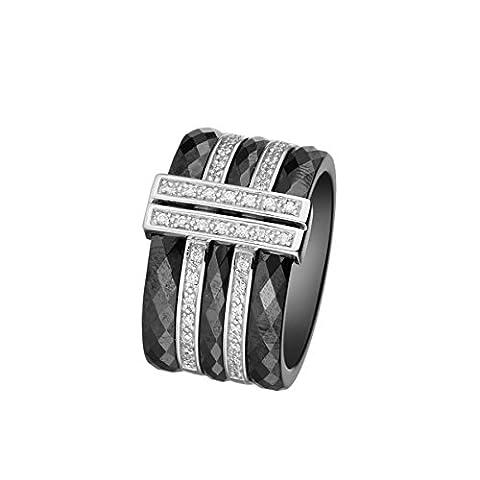 Mes-bijoux.fr - Bague Femme en Céramique Noire et Argent 925/1000 - 7BY069BAgv_60
