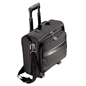 Black Executive Laptop Trolley Travel Case Cabin Bag- With Removeable Laptop Pouch