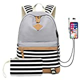 GIRLBAGS Schulrucksack Mädchen Teenager Canvas Zaino con Porta USB Streifen Schulranzen Laptop Schultaschen für Damen Schule Reise,Gray