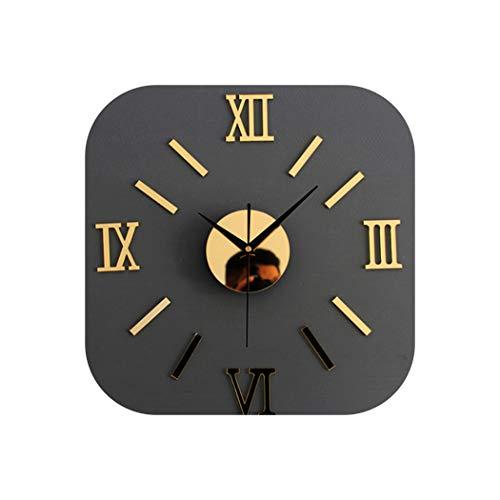 Little-Goldfish Wall Clock Wanduhr 3D kreativ Romae Digital Wanduhr Aufkleber Uhr Modern Design Uhr DIY Uhren Wanduhr Wohnzimmer Home Decor One Size Gold