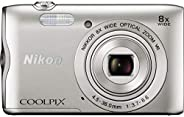 Nikon CoolPix A300-20.1 MP, 8X, Point and Shoot Camera, Silver