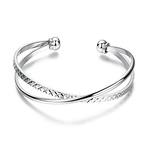 Silver Shoppee Gorgeous Sterling Silver Platinum Plated Free Size Bracelet for Girls and Women